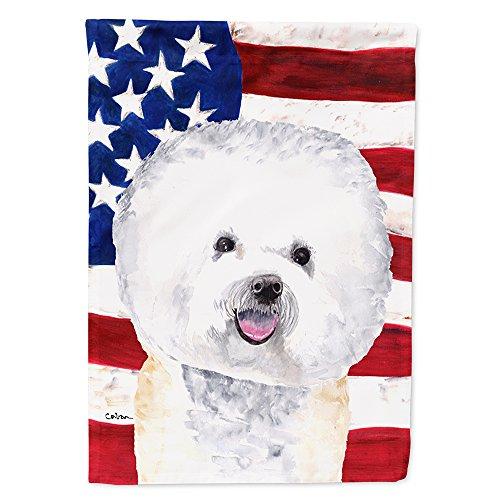 - Caroline's Treasures SC9014CHF USA American Flag with Bichon Frise Flag Canvas, Large, Multicolor