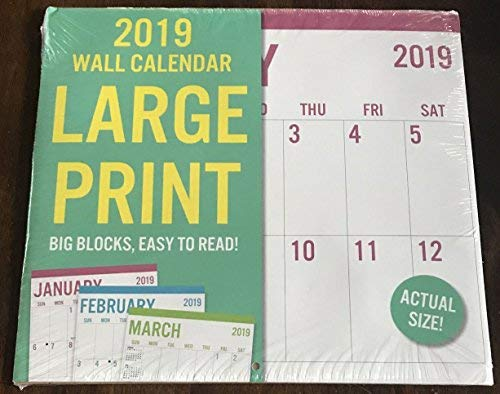 "2019 Calendar Large Print Wall 11""x12"""