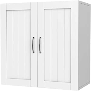 "Yaheetech Bathroom Medicine Cabinet 2 Door Wall Mounted Storage Cabinet with Adjustable Shelf, 23.4"" L x 12.2"" W x 23.5"" H, White"