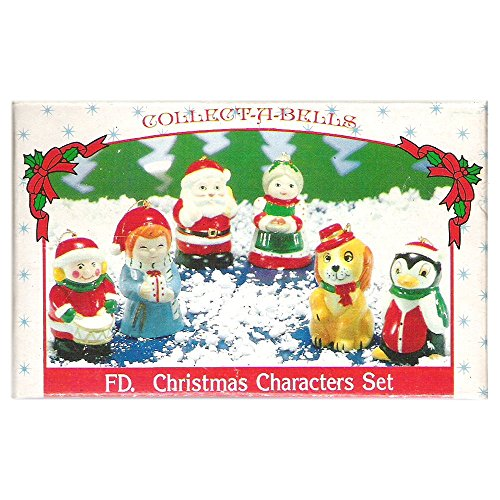 - Vintage Porcelain Bisque Collect-A-Bells FD Christmas Character Set of 6