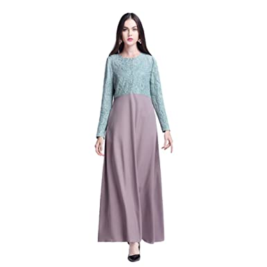 Haodasi Muslim Kaftan Islamic Middle East Abaya Cloth Malaysia Long Sleeve Lace Patchwork Dress Apparel Arab
