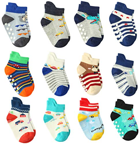 d1461902d4 12 Pairs Baby Boy Socks Non Skid with Grips, Toddler Boy Anti skid Socks (