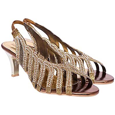 Walk Me Gold Heel Sandal For Women