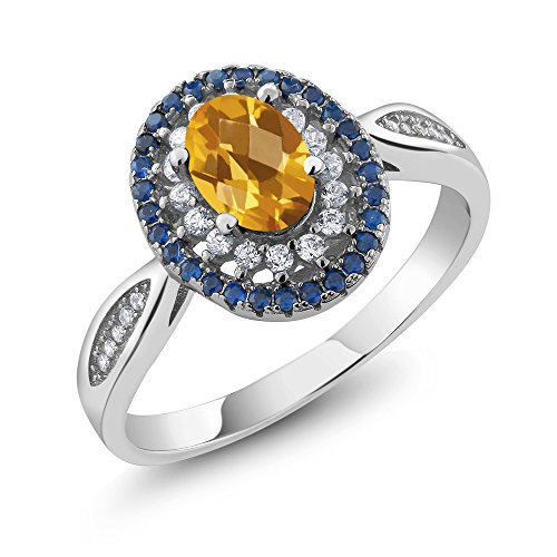 1.30 Ct Oval Checkerboard Yellow Citrine 925 Sterling Silver Ring (Yellow Checkerboard)