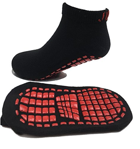 Non slip socks kids design unisex socks s size for kids ages 4 to 7, black/red color. (Design Kids Sock)