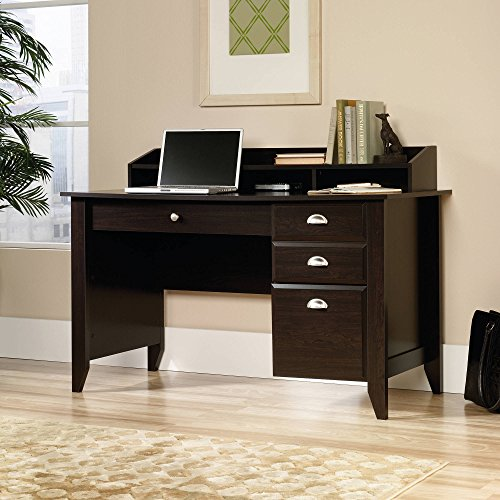 Creek Desk, Casual Style with Grommet Hole for Cable Management, Drawers with Metal Runners and Safety Stops, Organizer Hutch with Full Shelf and Cubbyhole Storage, Jamocha Wood + Expert Guide (Solid Wood Ash Creek)