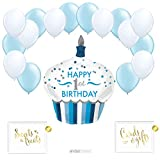 Andaz Press Balloon Party Kit with Signs, Birthday Retirement, Cheers Beer Mug with White and Gold Balloons, Hanging Decor, Hanging Decorations, 19-Piece Kit, 21st, 25th, 30th, 35th, Graduation