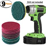 SIQUK 9 Pieces Scrub Pads 4 Inches Drill Power Brush Tile Scrubber Scouring