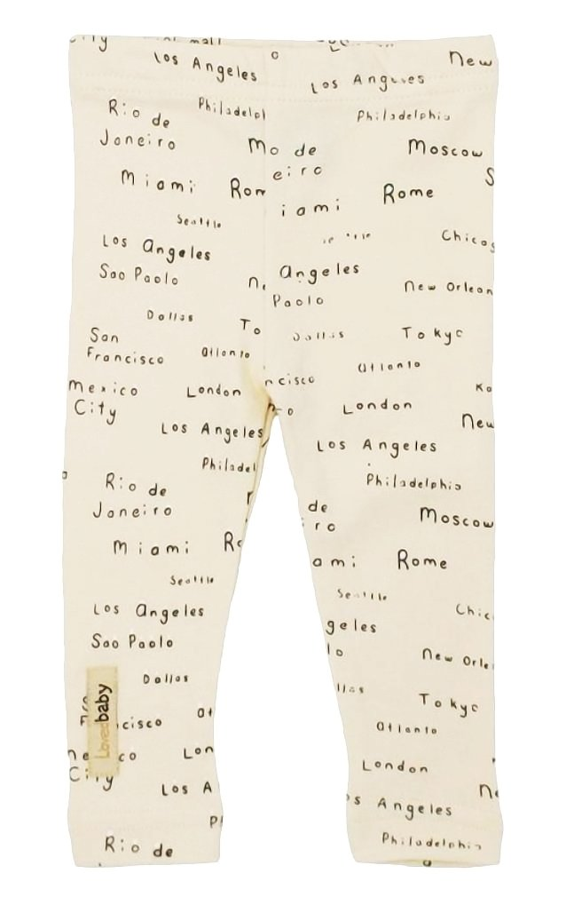 L'ovedbaby Unisex-Baby Organic Cotton Leggings (12-18 Months, Beige City Names)