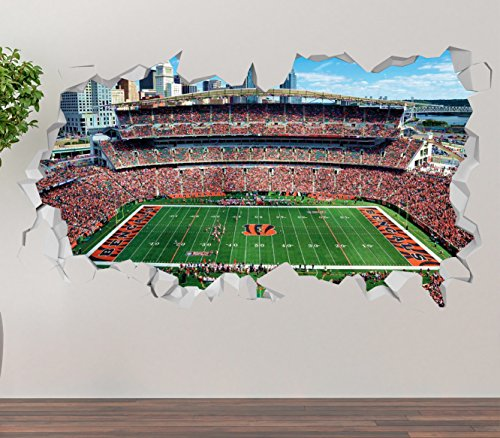 Cincinnati Bengals Paul Brown Stadium Wall Decal Smashed 3D Sticker Vinyl Decor Mural NFL - Broken Wall - 3D Designs - OP267 (Small (Wide 22
