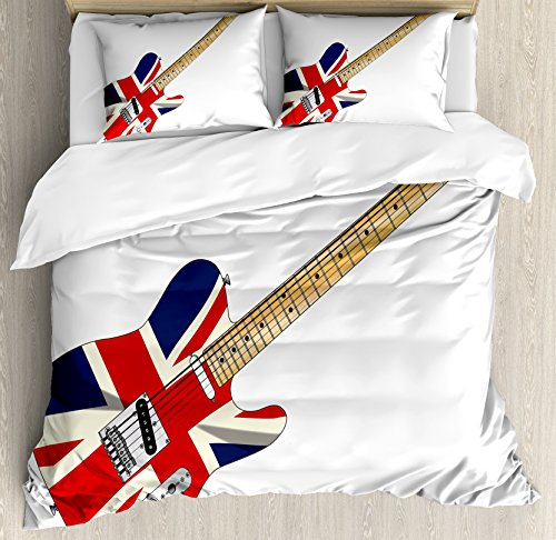 Ambesonne Union Jack Duvet Cover Set, Classical Electric Guitar UK Flag Britain Music Instrument, Decorative 3 Piece Bedding Set with 2 Pillow Shams, King Size, Pale Brown Grey Black (Grey And Black Union Jack Bedding Sets)