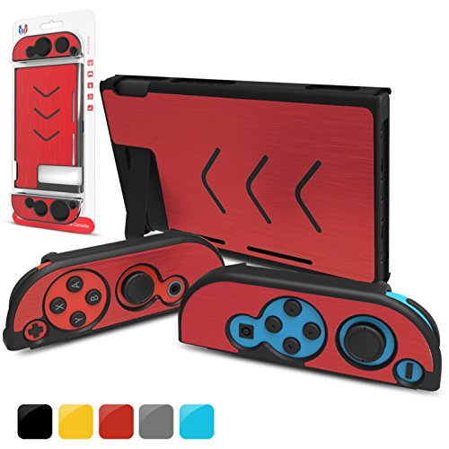 GH Nintendo Switch Case Cover & Joy Con Cover , Slim Aluminum [Snap on] Hard Switch Shell for NS Console & Joy Con Controllers 2017 Release (Red)