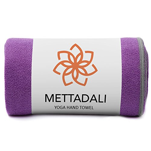 Mettadali Yoga Hand Towel (15 x 24) - Non Slip Resistant & Sweat Activated Gripping Microfiber - Super Soft, Absorbent & Fast Drying (Purple)