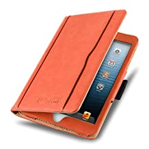 iPad Mini 4, 3, 2, and 1st Generation Case, JAMMYLIZARD The Original Orange & Tan Leather Smart Cover
