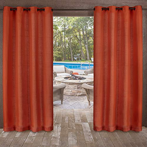 Exclusive Home Curtains Delano Heavyweight Textured Indoor/Outdoor Window Curtain Panel Pair with Grommet Top, 54x96, Mecca Orange, 2 Piece