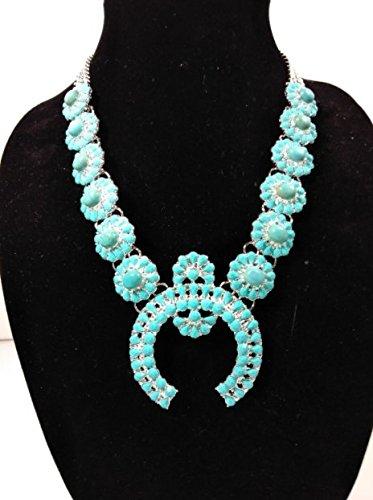 Faux Turquoise Squash Blossom Necklace (Chain Squash Necklace)