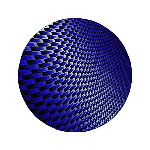 Non-Slip Rubber Round Mouse Pad,Dark Blue,Curvy Carbon Fiber Texture Image Abstract Industrial Modern Grid,Dark Blue Royal Blue White,7.87