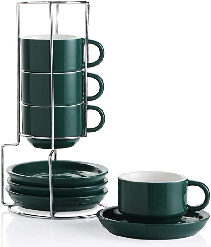 Amazon.com | SWEEJAR Porcelain Espresso Cups with Saucers, 4 Ounce Stackable Cappuccino Cups with Metal Stand for Coffee Drinks, Latte, Tea - Set of 4 (Jade): Cup & Saucer Sets