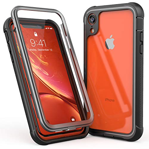 ALOFOX Clear Designed Case for iPhone XR Case, Full-Body Rugged Clear Bumper Case with Built-in Screen Protector for Apple iPhone XR 6.1 Inch (2018 Release) (Black+Clear)
