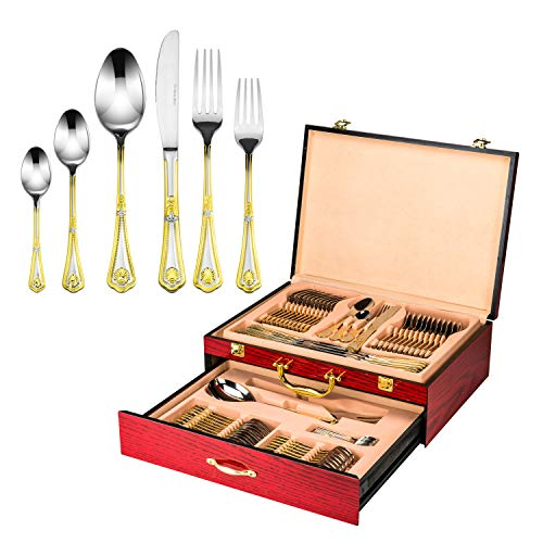 Florentia Collection 75-Piece Cutlery Set 'Seashell' Luxury Surgical Stainless Steel Silverware Flatware Set 18/10, Service for 12 Person, 24K Gold-Plated Hostess Serving Set in a Cherry Wooden Case ()