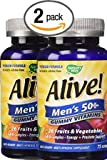 Pack of 2, 75 count Natures Way Alive! Mens 50 Plus Gummy Multi-Vitamins