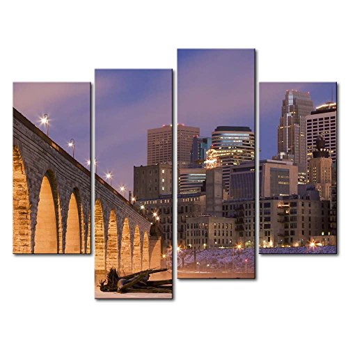 So Crazy Art 4 Panel Wall Art Painting Bright Stone Arch Bridge Minneapolis Prints On Canvas The Picture City Pictures Oil For Home Modern Decoration Print Decor For Items