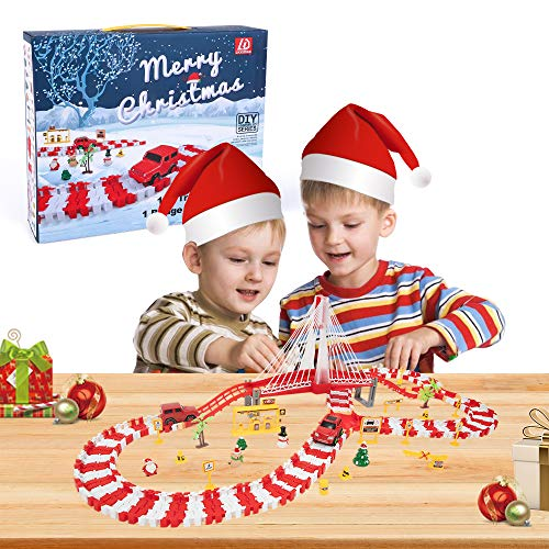 Lucky Doug Christmas Gift Toy, 192 Pcs Race Car Track Toys Included 2 Cars and 1 Bridge with Lights and Sounds, Christmas Toys Gift for Kids, Toddler Age 3+