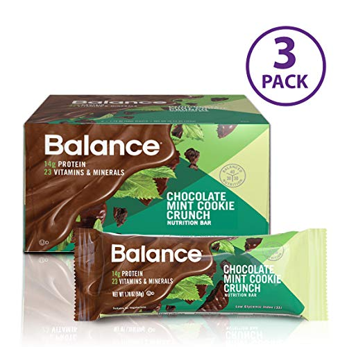 Balance Bar, Healthy Protein Snacks, Chocolate Mint Cookie Crunch, 1.76 oz, Pack of Three 6-Count Boxes ()