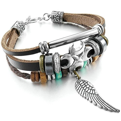 Women Men's Alloy Genuine Leather Bracelet Bangle Rope Cross Angel Wing Surfer Wrap Tribal Silver - Rochester Shopping Ny In