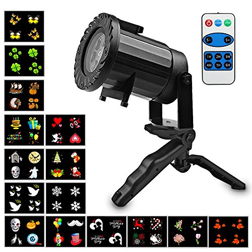 Led Christmas Light Projector, 2017 Newest Version Waterproof Outdoors LED Projector Light - 15 Pattern Slides Dynamic Light Projector Landscape Spotlight Decor for Christmas, Xmas,Party Decoration