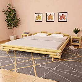 Tidyard Bamboo Bed Double Bed Frame Modern Style 180×200 cm Natural