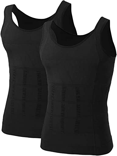 2 Pack XL Black and White Mens Slimming Body Shaper Vest Shirt Compression Muscle Tank