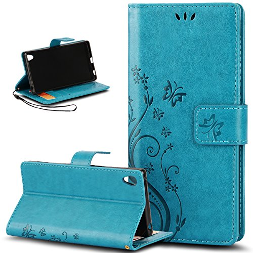 Sony Xperia Z3+ Case,NSSTAR Butterfly Flower Flip PU Leather Fold Wallet Pouch Case Premium Leather Wallet Flip Stand Credit Card ID Holders Case Cover for Sony Xperia Z3 Plus/z3+,Blue
