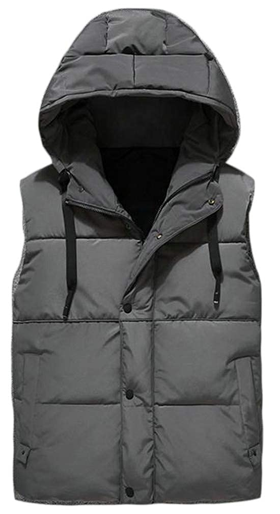 Pcutrone Mens Pocket Sleeveless Quilted Button Hooded Slim Jacket Down Vest