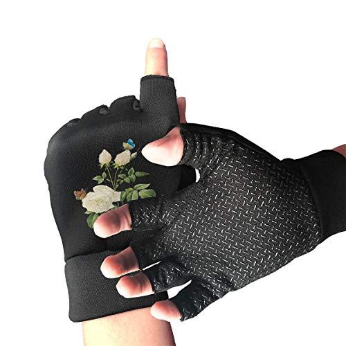 White RoseBreathable Half Finger Non-Slip Pro Shock-Absorbing Riding Gloves Outdoor Sports Gloves for Roller Skatingfor Men Women Youth