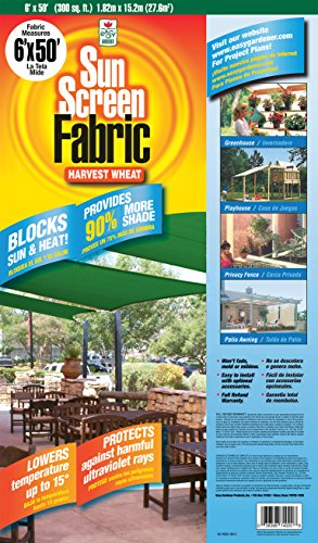 Easy Gardener Sun Screen Fabric (Reduces Temperature Up to 15 Degrees, Provides 90% More Shade) Harvest Wheat Shade Fabric, 6 Feet x 20 Feet