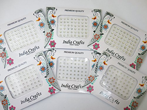 Wholesale Rhinestones Self Adhesive (240+ 240 Dots WhiteClear Crystal bindis Craft work Indian Bindi Bollywood Stickers)