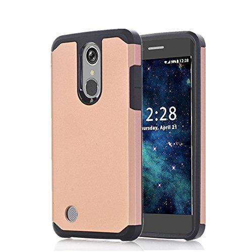 LG Aristo Case, LG LV3 Case, LG K8 2017 Case, VPR 2 in 1 Dual Layer Armor Heavy Duty Defender Cover Plastic Shell + TPU Rubber Protection Case for LG LV3 / LG Aristo / LG K8 2017 (RoseGold+Black)