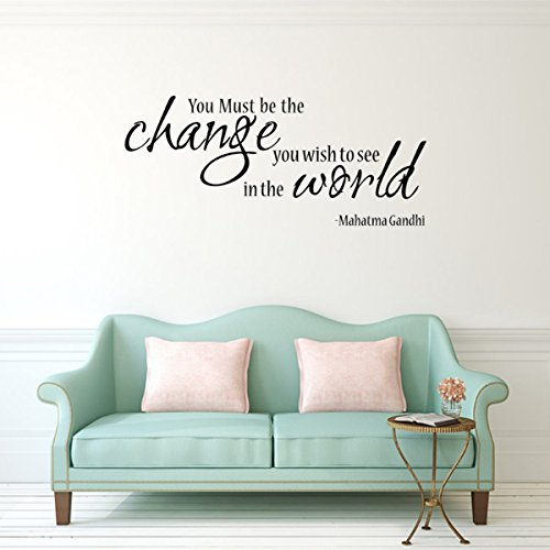 Dr Suess 57cm × 24cm Wall Decal Decor Mahatma Gandhi Famous Saying Lettering Sticker Art Inspirational Vinyl Wall Decal Quotes