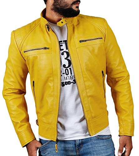 - Laverapelle Men's Genuine Lambskin Leather Jacket (Yellow, Extra Large, Polyester Lining) - 1501344
