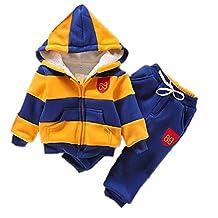 VANGULL Boys Chidren Kids Hoodies Sweater Pants Winter Outwear Coats Snowsuit Sets (6T / 130, Blue and Yellow)