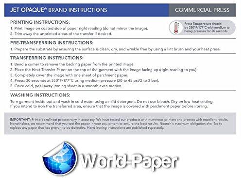 INKJET TRANSFER PAPER FOR DARK FABRIC: NEENAH ''JET OPAQUE II'' (8.5''X11'') 50NKJET TRANSFER PAPER FOR DARK FABRIC: NEENAH ''JET OPAQUE II'' (8.5''X11'') 50Pk :) by JET-OPAQUE® II Neenah Paper (Image #3)