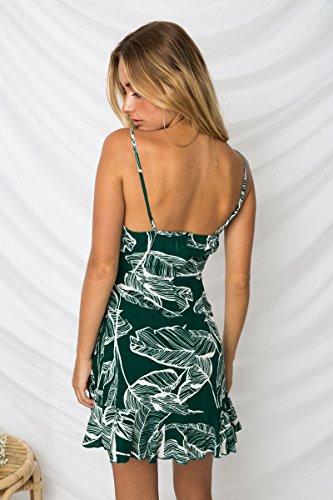 estampado y verdes vestido espaguetis floral Alaix de informal mujeres sexy verano Vestido Lady con correas Mini de para TqSzxwn0