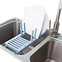 Dish Drying Rack Over the Sink Multifunction Adjustable 2 Methods of Use (Blue)