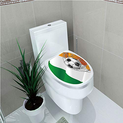 Toilet Cover Decoration,Irish,Sports Theme Soccer Ball in a Net Game Goal with Ireland National Flag Victory Win,Multicolor,3D Printing,W12.6