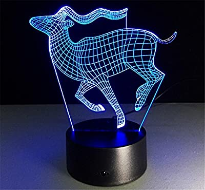 DMMSS Christmas Deer 3D Lights Colorful Touch Led Night Light Gift Table Lamp (Multi-Color Dimming)