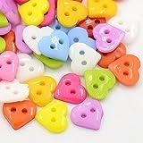 Boutons Coeur Multicolore 10mm 2 Trous - Lot de 25