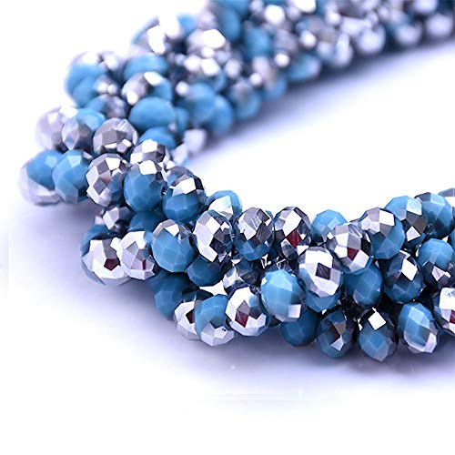 BeadsOne 8mm - 72 pcs - Glass Rondelle Faceted Beads Blue Silver Multicolored for jewerly Making findings Handmade jewerly briolette Loose Beads Spacer Donut Faceted Top Quality 5040 (C100)