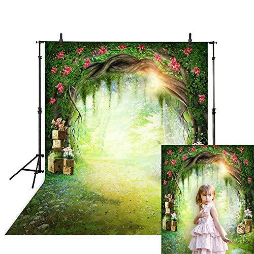 Allenjoy 5x7ft Spring Backdrop Forest Garden Sunshine Scene Grassland Trees Green Leaf Flowers Wonderland Kids Background Decoration Photo Studio Props