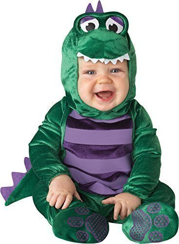 Dinky Dinosaur Baby Costumes (Deluxe Baby Boys Dinky Dinosaur Animal Halloween In Character Fancy Dress Costume Outfit (6-12 months) by Fancy Me)